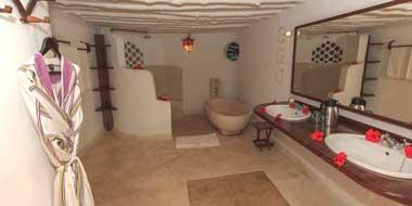 Matemwe Lodge, Badezimmer